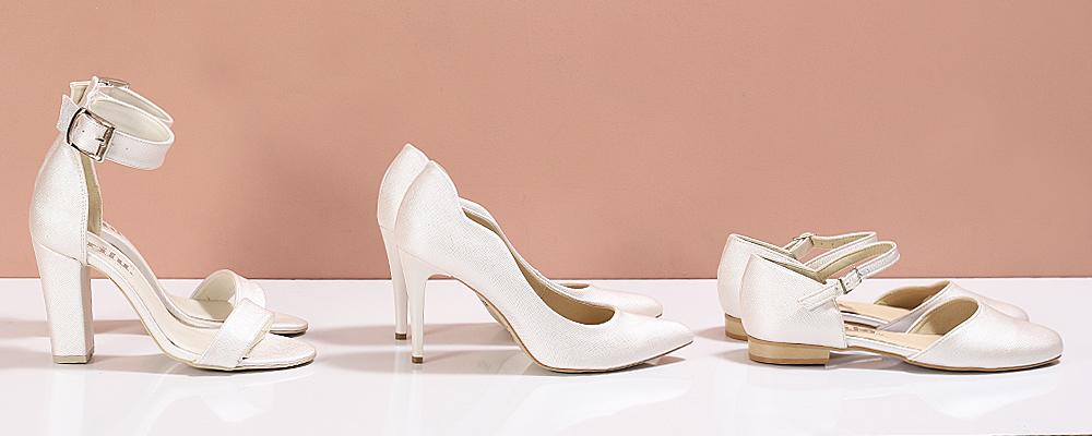 07ad588e38f19 Różne wysokości obcasa butów ślubnych z prestiżowej kolekcji Brilu.