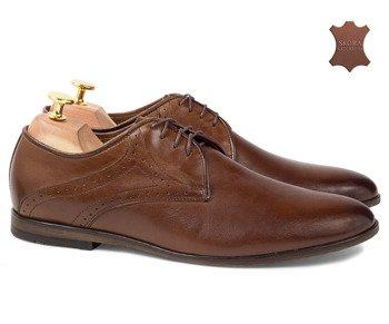 456d6a91 Eleganckie skórzane buty wizytowe z dziurkami Simon brązowe