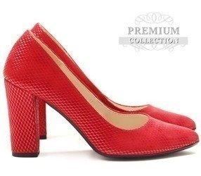 35294f1c023ef Polskie szpilki na słupku z modną teksturą Ariane czerwone