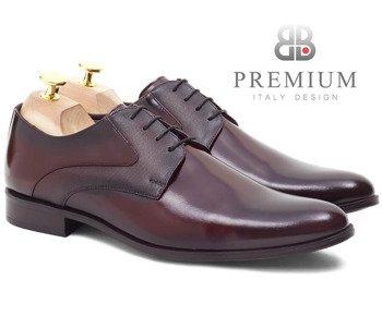 165a3cb7 Skórzane buty męskie wizytowe derby Winston bordowe