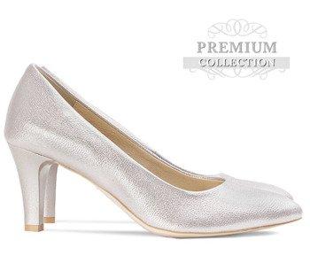 1facea83 Ślubne klasyczne, połyskujące szpilki na obcasie Aisza fioletowo srebrne