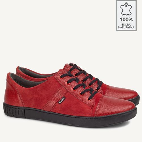 buty męskie ze skóry czerwone
