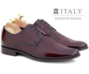668c07128c905 Wizytowe buty męskie ze skóry naturalnej derby Pearl bordowe