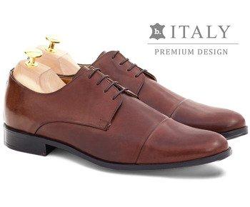 f36c57d884ddd Wizytowe buty męskie ze skóry naturalnej derby Pearl brązowe