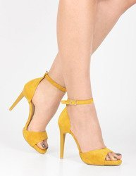 37bd6010893161 Zamszowe sandały na szpilce i platformie Annika żółte