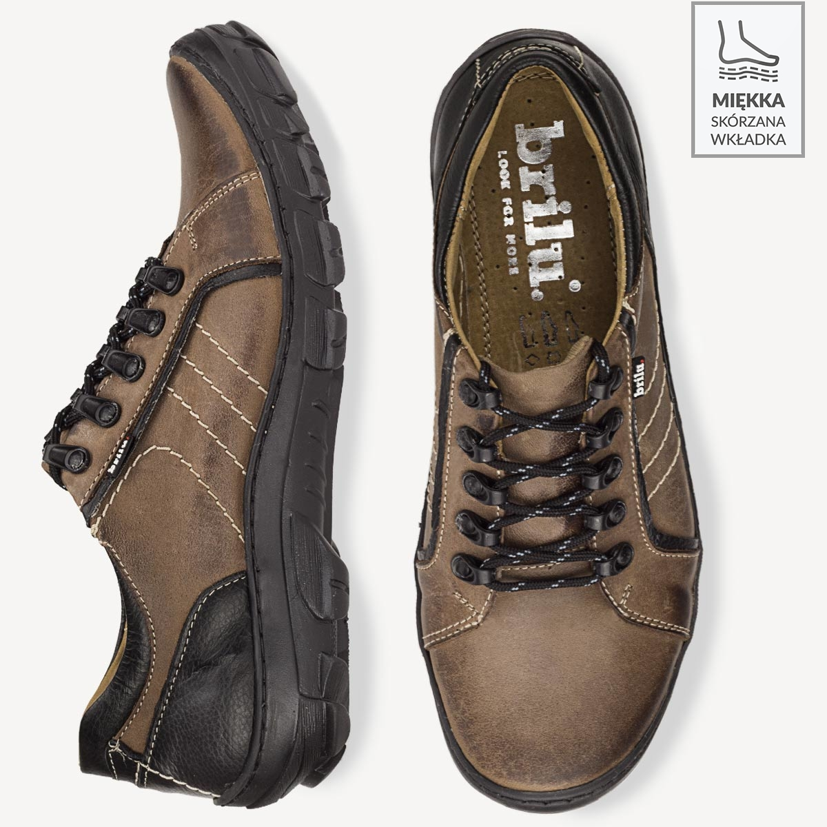 Buty trekkingowe skórzane Hektor brązowe
