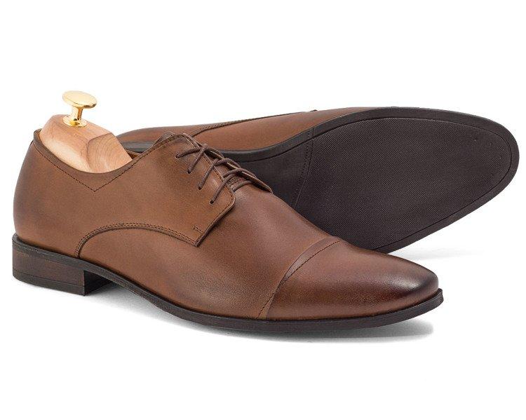 Świeże Eleganckie buty wizytowe z nakładanym noskiem Marco brązowe MD29