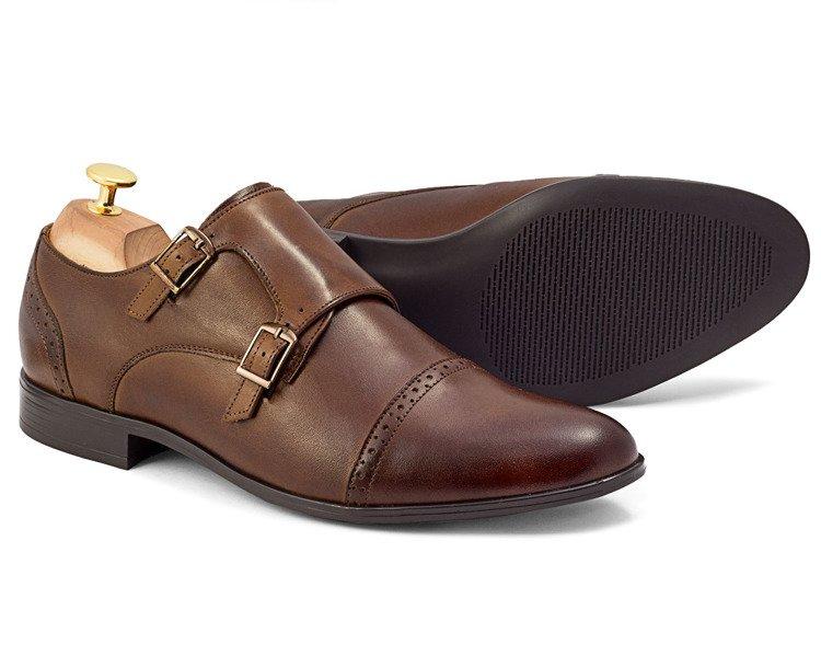 Eleganckie skórzane buty wizytowe monki z klamrami Claudio brązowe