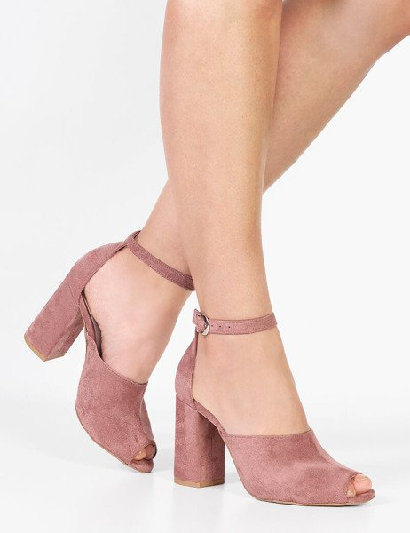 6be1634c9e1501 Modne zamszowe sandały bez palców na wysokim słupku Marika różowe ...