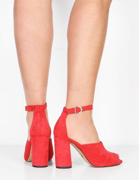 fab5397274b5b0 Modne zamszowe sandały na wysokim słupku Marika czerwone - brilu.pl