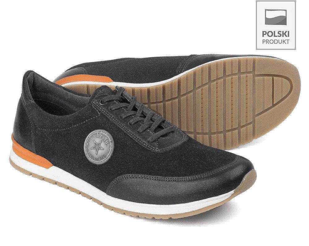 Polbuty Sportowe Meskie Sneakersy Skorzane Serge Czarne Brilu Pl