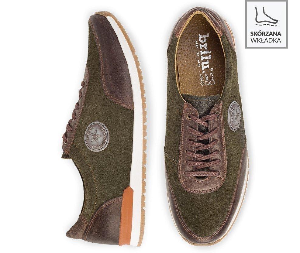 Półbuty sportowe męskie sneakersy skórzane Serge zielone