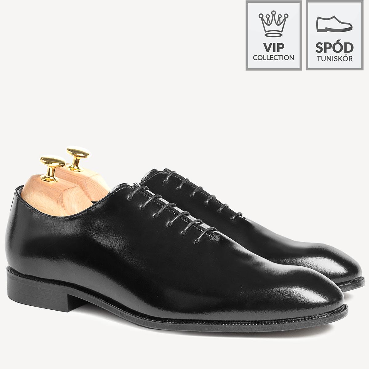 Skórzane buty wizytowe lotniki Karl czarne