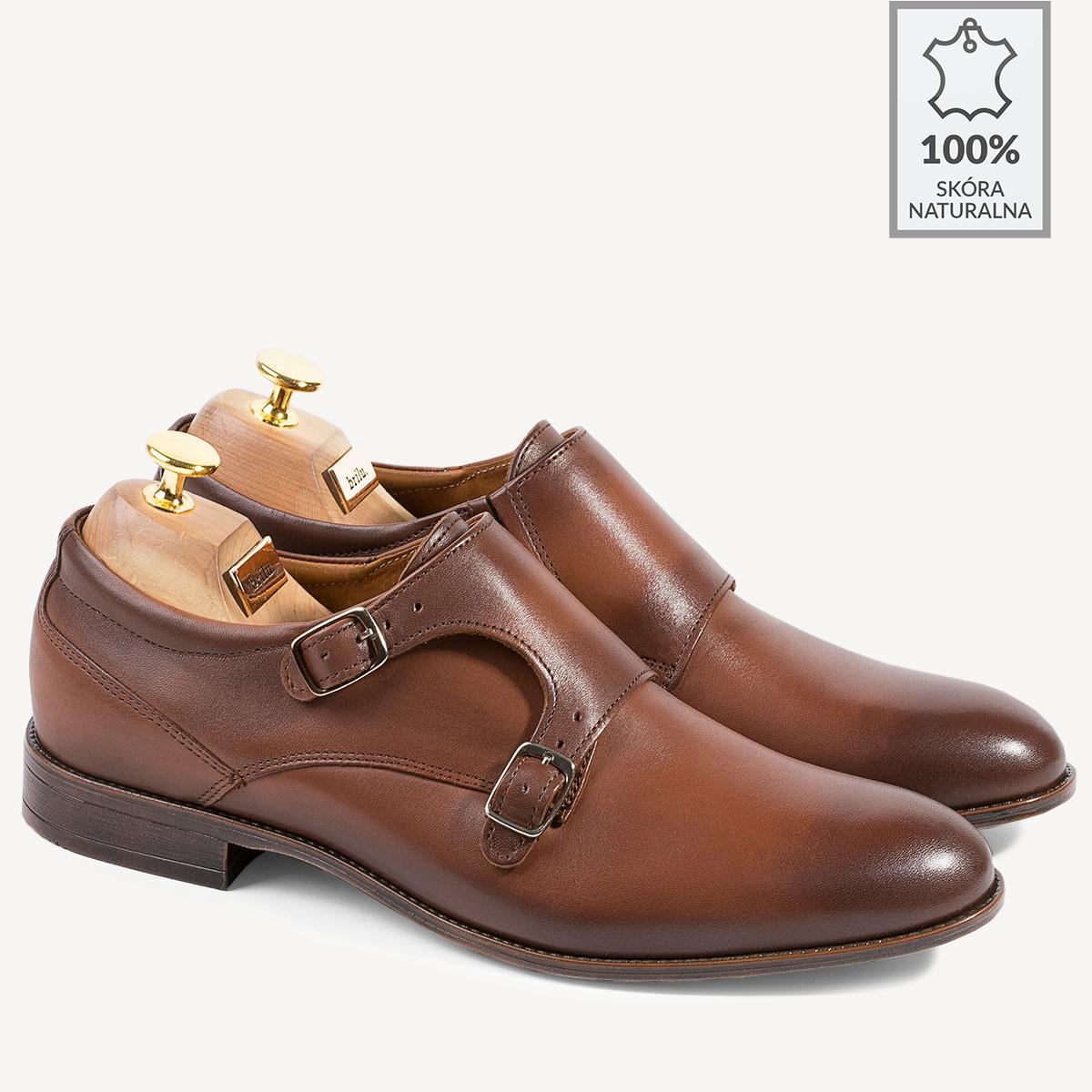 b3e49cf55a5d7 Skórzane buty wizytowe monki z klamrami Jorge brązowe