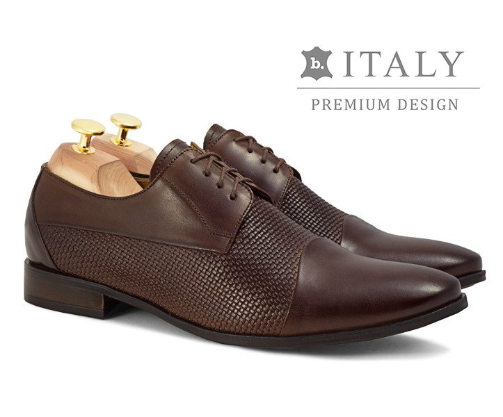 7c0add0642a6d Skórzane buty wizytowe z tłoczoną teksturą Guido ciemny brąz