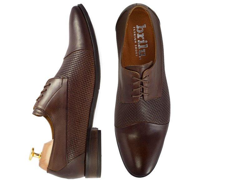 7a9ec32f97ebb Skórzane buty wizytowe z tłoczoną teksturą Guido ciemny brąz
