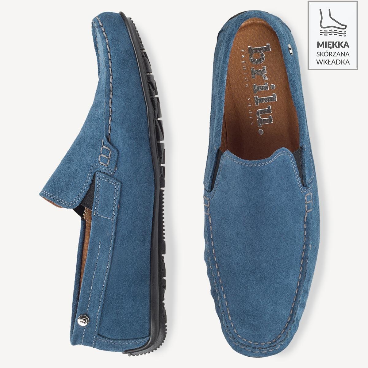 Skórzane mokasyny męskie zamszowe z gumką Blaze niebieskie
