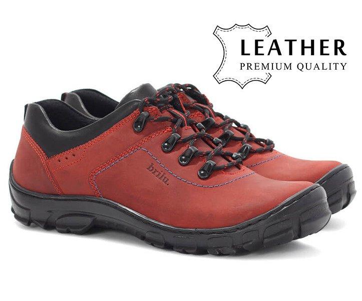 Skórzane nubukowe półbuty trekkingowe Thomas czerwone
