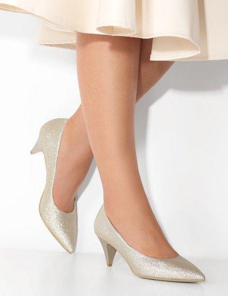 Ślubne brokatowe szpilki Gillian złote