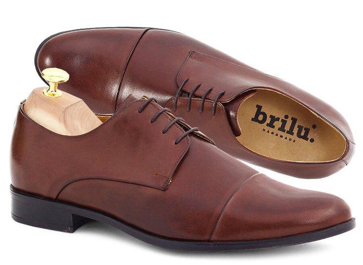 Wizytowe buty męskie ze skóry naturalnej derby Paul brązowe
