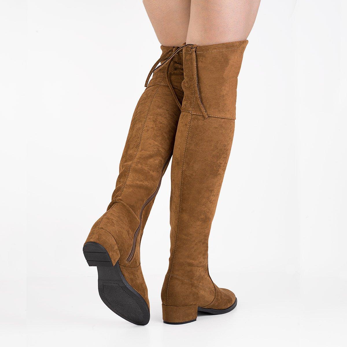 Zamszowe kozaki z elastyczną cholewką za kolano Cornelia brązowe