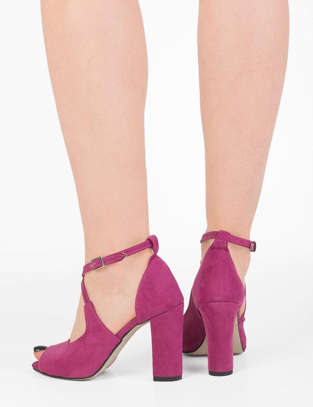 Zamszowe sandały na słupku Natasha fuksja