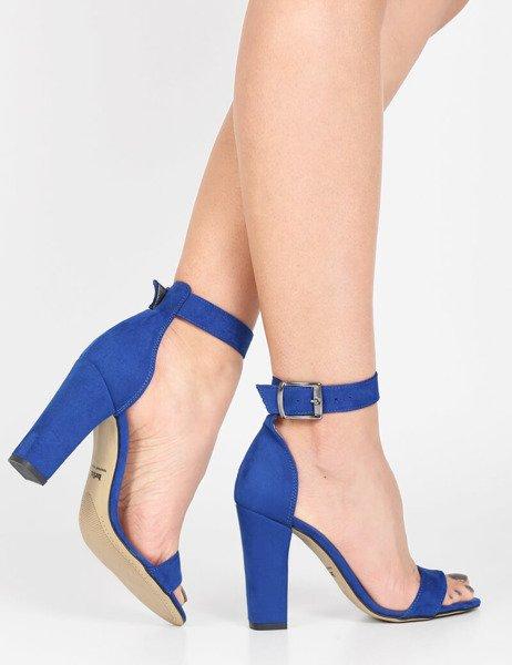 8ded47da44ae8e Zamszowe sandały na słupku z ozdobną klamerką Gwen niebieskie - brilu.pl